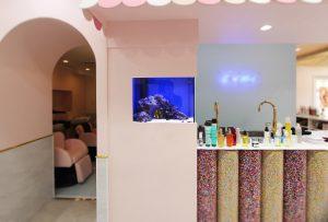 横浜市内 美容室に60cm埋込海水魚水槽